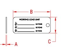 Sling Identification Tag 1-38 X 2-12 in 304 Marine Grade Stainless Steel Drawing