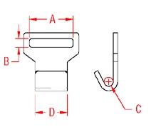 Flat Web Hook 304 Marine Grade Drawing